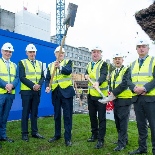 Minister of State at the Department of Health Jim Daly T.D.  turns the sod on €77m development plan at Bon Secours Hospital Cork  and announces 50 new jobs