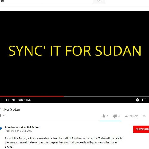 Staff of Bon Secours Hospital Tralee film promotional video for Sync' It For Sudan Event.